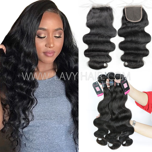 Superior Grade Mix 3 Bundles With Lace Closure Peruvian Body Wave