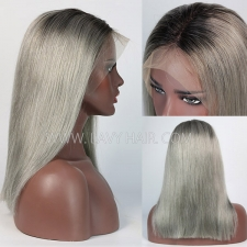#1B/grey color 100% Human Hair Ombre Lace Front Bob Wig 180% Density Straight