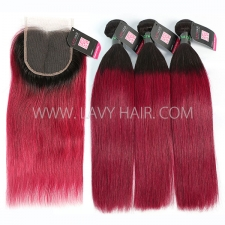 #1B/99J Superior Grade 3 bundles with lace closure Brazilian Straight Virgin Human hair extensions