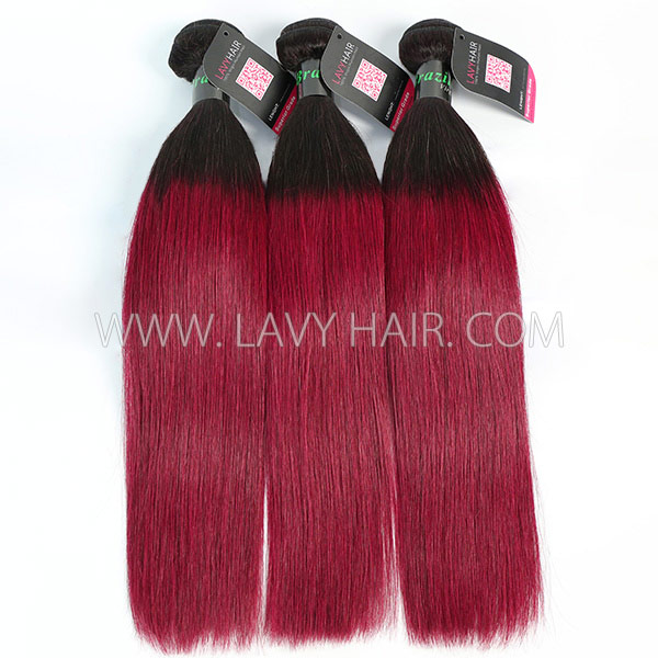 #1B/99J Superior Grade mix 3 or 4 bundles Brazilian straight Virgin Human hair extensions