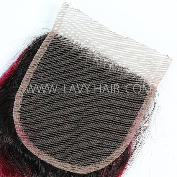 "Lace top closure 4*4"" body wave #1B/99J Human hair medium brown Swiss lace"
