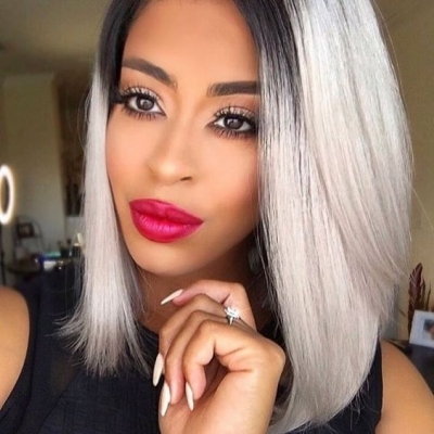 #1B/grey Color  Lace Frontal Bob Wig 150% Density Straight Hair Human Hair