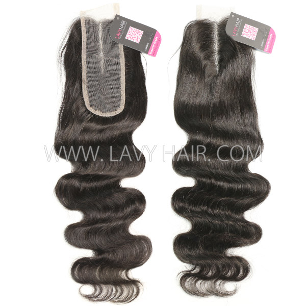 "Lace top closure 2*6"" body wave Human hair medium brown Swiss lace"