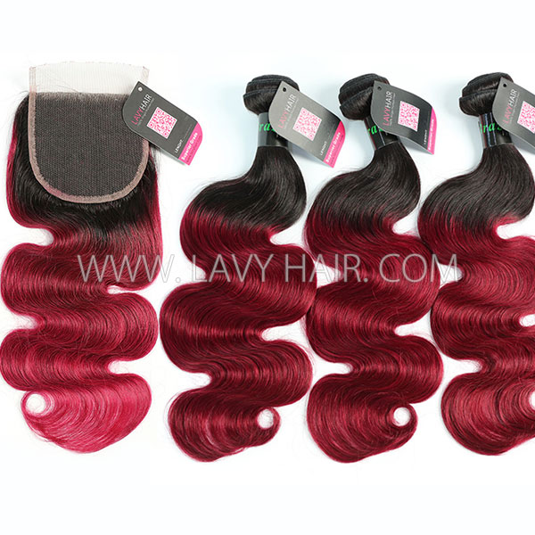 #1B/99J Superior Grade 3 bundles with lace closure Brazilian Body wave Virgin Human hair extensions