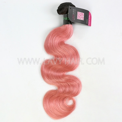 #1B/Pink Superior Grade 1 bundle Brazilian body wave Virgin Human hair extensions