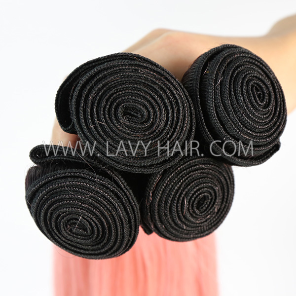 #1B/pink Superior Grade 3 bundles with lace closure Brazilian Straight Virgin Human hair extensions