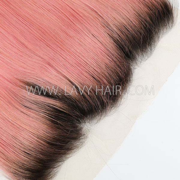 # 1B/Pink Ear to ear 13*4 Lace Frontal Straight Human hair medium brown Swiss lace
