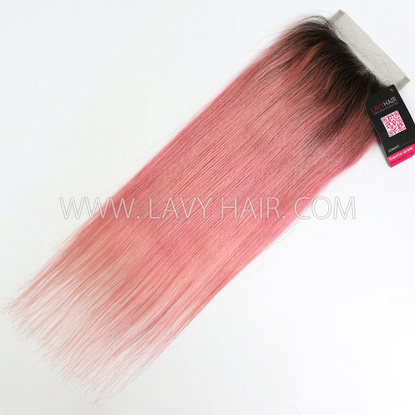 "Lace top closure 4*4"" Straight #1B/Pink Human hair medium brown Swiss lace"