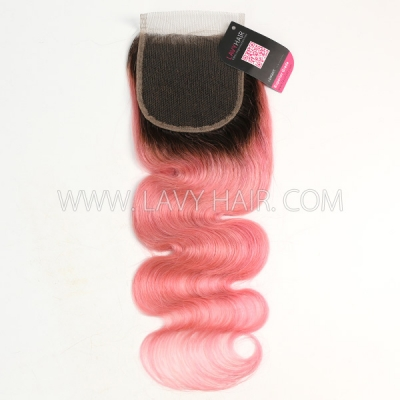 "Lace top closure 4*4"" body wave #1B/Pink Human hair medium brown Swiss lace"