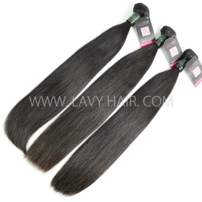 Double Drawn Superior Grade 1 bundle Brazilian Straight Virgin Human hair extensions