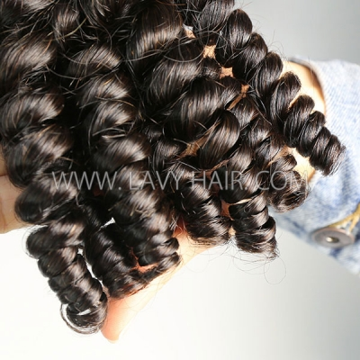 Superior Grade 1 Bundle Brazilian Spiral curly Virgin Human Hair Extensions