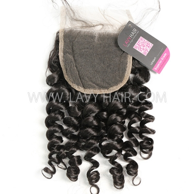 "Lace top closure 4*4"" Spiral curly Human hair medium brown Swiss lace"