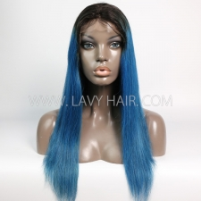 1B/Vivid Blue Color Lace Frontal Wig Straight Hair Human Hair