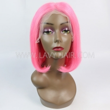 Pink Color Lace Frontal Bob Wig 150% Density Straight Hair Human hair