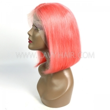 Orange Color Lace Frontal Bob Wig 150% Density Straight Hair Human hair