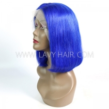 Blue Color Lace Frontal Bob Wig 150% Density Straight Hair Human hair