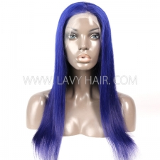 Blue Color Lace Frontal wig Straight Hair Human Hair