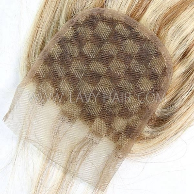 "#P8/613 Lace top closure 4*4"" Straight  Human hair medium brown Swiss lace"