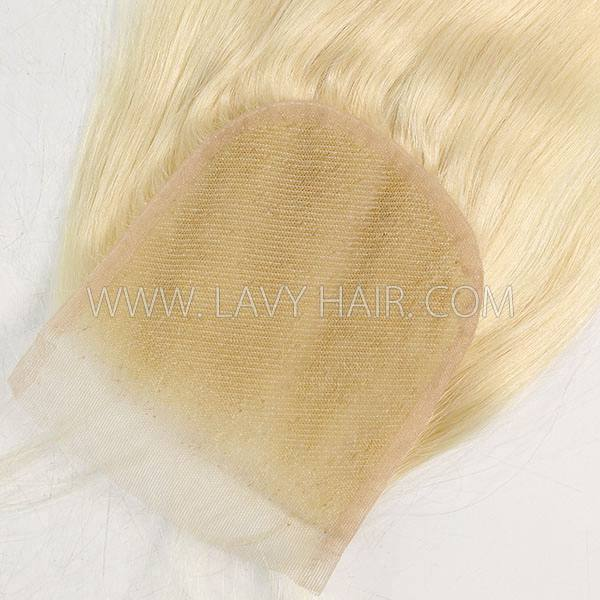 "Color 60 Lace top closure 4*4"" Straight  Human hair medium brown Swiss lace"
