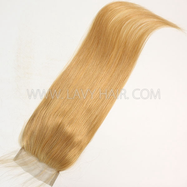 "Color 520 Lace top closure 4*4"" Straight  Human hair medium brown Swiss lace"