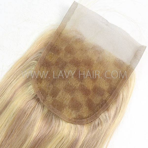"#P18/613 Lace top closure 4*4"" Straight  Human hair medium brown Swiss lace"