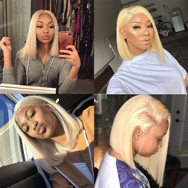 #613 Color Lace Frontal Bob Wig 150% Density Straight Hair Human Hair