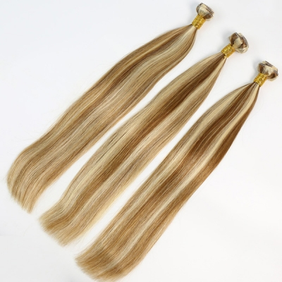 Color p8/613 Straight Hair Human Virgin Hair 2/3 Bundles With Lace Closure 4*4