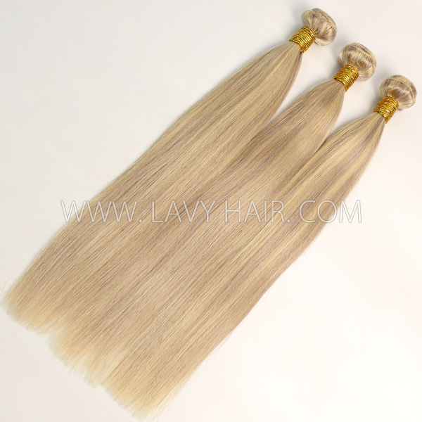 Color p18/613 Straight Hair Human Virgin Hair 2/3 Bundles With Lace Closure 4*4