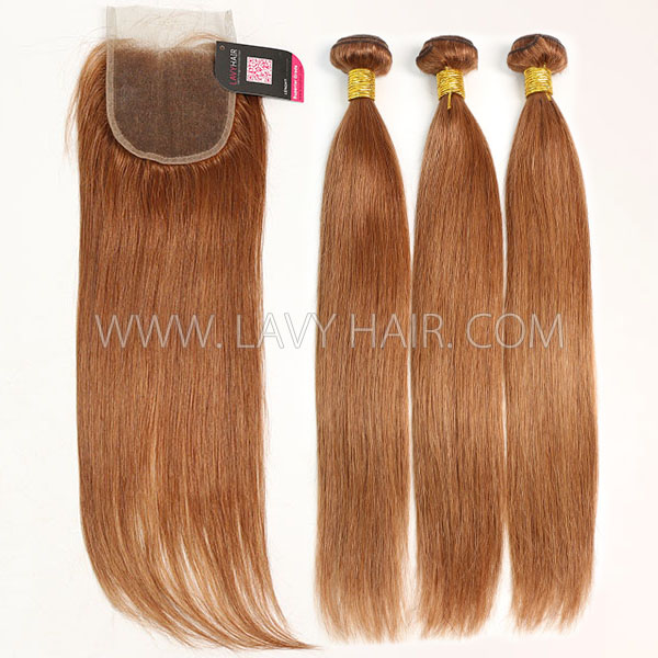 Color 30 Straight Hair Human Virgin Hair 2/3 Bundles With Lace Closure 4*4