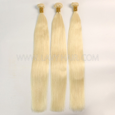 Color 60 Straight Hair Human Virgin Hair 2/3 Bundles With Lace Closure 4*4