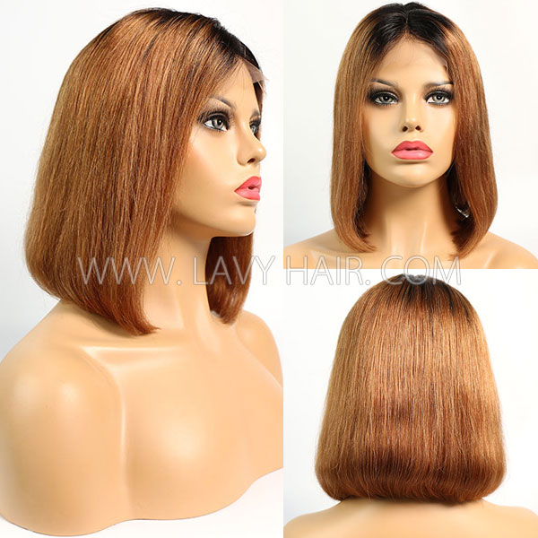 #1B/30 Color Lace Frontal Bob Wig 150% Density Straight Hair Human Hair