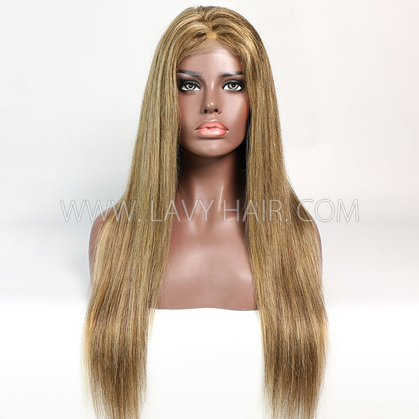 Color P4/27 Lace Closure 4*4 With Bundles Sewing Wigs Straight Human hair