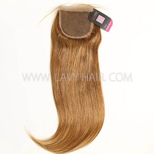 "Color 6 Lace top closure 4*4"" Straight  Human hair medium brown Swiss lace"