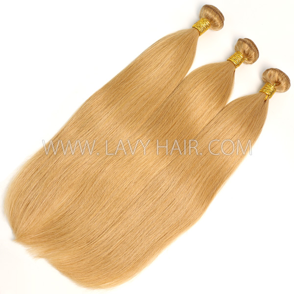 Color 27 Straight Hair Human Virgin Hair 2/3 Bundles With Lace Closure 4*4