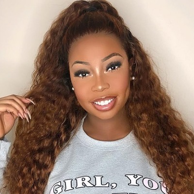 4# 130% Density Full Lace Wigs Deep Wave Human Hair