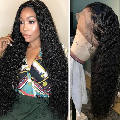 Lace Frontal Wigs 180% Density Deep Curly Human Hair