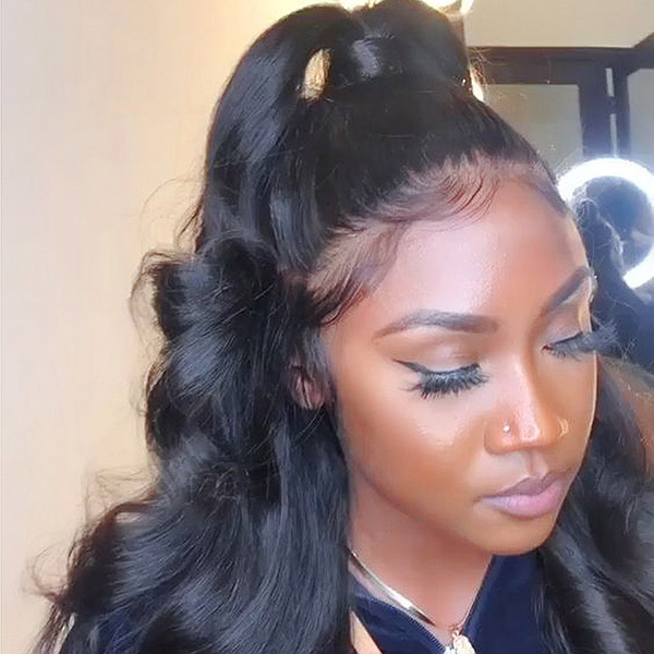 Body Wave 360 Lace Frontal Wigs 180% Density(colored by customer))