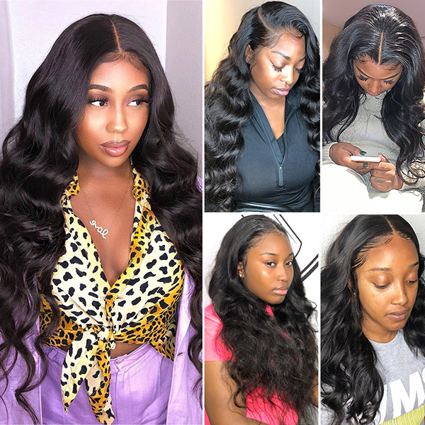 Lace Frontal Wigs 300% Density Body Wave Human Hair