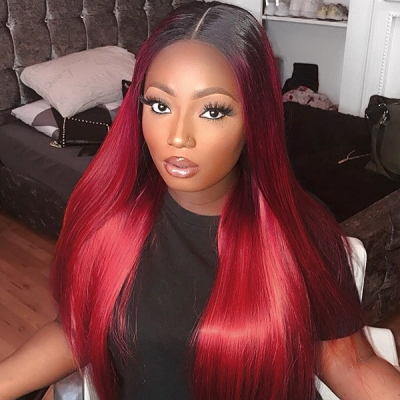 1B/99J Color Lace Frontal Wig Straight Hair Human Hair