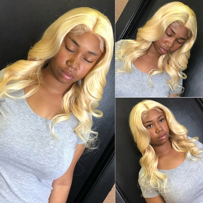 #613 Blonde Lace Frontal Wigs 130% Density Body Wave Human Hair