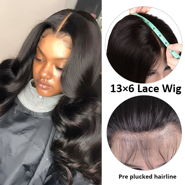 130 density Brazilian natural wave 13x6 lace frontal wig