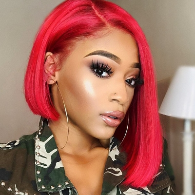 Red Color Lace Frontal Bob Wig Straight Hair 150% Density