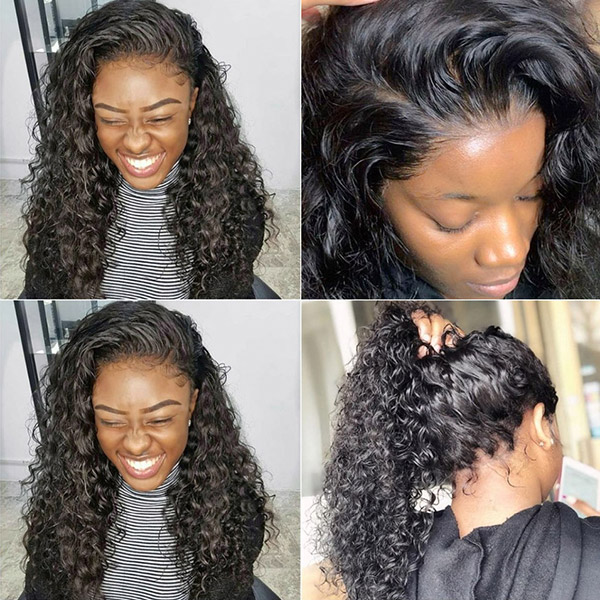 360 Lace Frontal Wigs 180% Density Deep Wave Human Hair