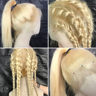 #613 130% Density Blonde Full Lace Wigs  Straight Hair Human Hair