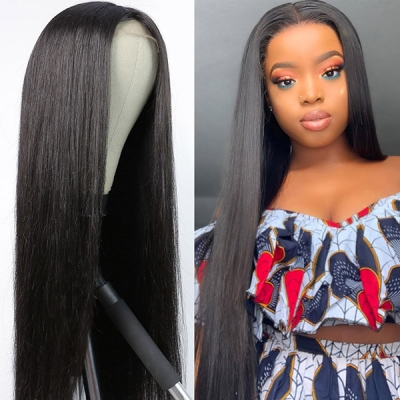 4*4 Lace Closure With Bundles Sewing Wigs Long Straight Human hair