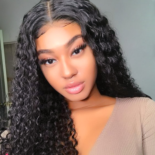 Lace Frontal Wigs 130% Density Italian Curly Human Hair
