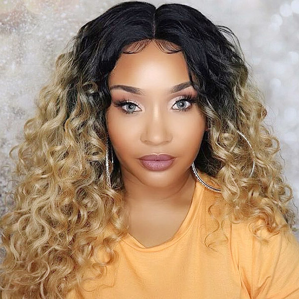 Color 4/27 Lace Frontal Wigs 130% Density Deep Wave Human Hair