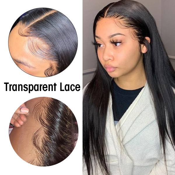 Transparent Lace 130% Density Full Lace Wigs Human Hair Natural Color