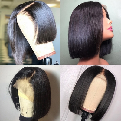 Lace Frontal Bob Wig 150% Density Straight Hair Human hair