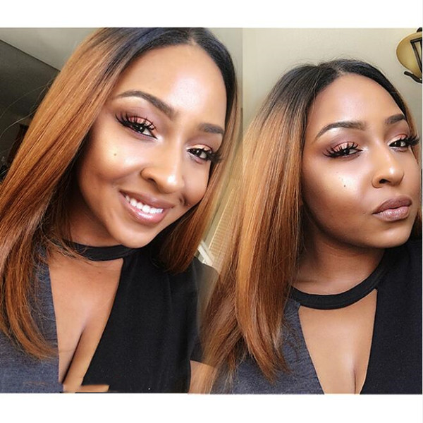 #1B/30 Color Lace Frontal Bob Wig Straight Virgin Hair
